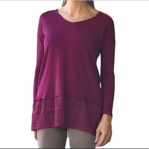 Cloud Chaser Maroon Long Sleeve Top Lace Bottom XL